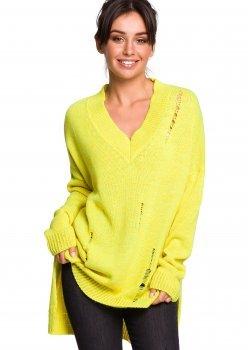 Пуловер с V-образно деколте в жълт цвят BK028