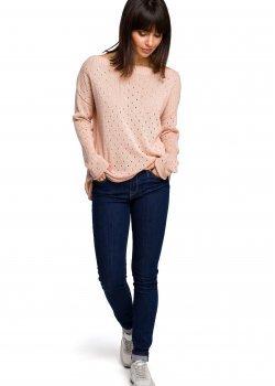 Пуловер в цвят праскова BK019
