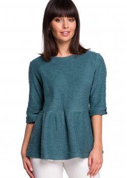 Пуловер в цвят тюркоаз B109