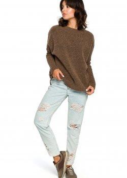 Пуловер в светлокафяв цвят BK009