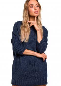 Пуловер в тъмносин меланж M470