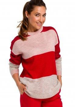 Пуловер в три цвята с кръгло деколте S200