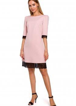 Розова рокля с 3/4 ръкав M489