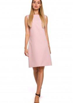 Розова рокля с V-образен гръб M490
