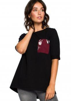 Стилна блуза с къс ръкав в черен цвят B095