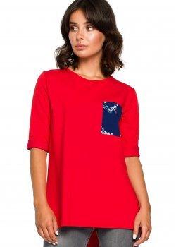 Стилна блуза с къс ръкав в червен цвят B095