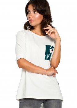 Стилна блуза с къс ръкав в цвят екрю B095