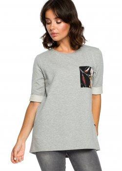 Стилна блуза с къс ръкав в сив цвят B095