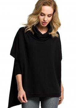 Стилна блуза с поло яка в черен цвят M389