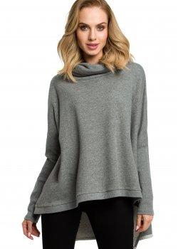 Стилна блуза с поло яка в сив цвят M389
