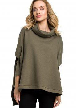 Стилна блуза с поло яка в тъмнозелен цвят M389