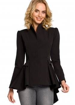 Стилно асиметрично сако в черен цвят M165