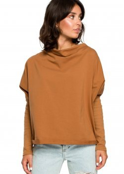 Свободна блуза в цвят карамел B094