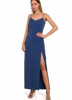 Синя рокля с тънки презрамки M485