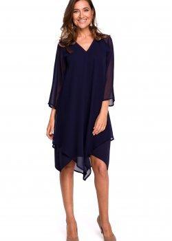 Тъмносиня рокля от шифон S159