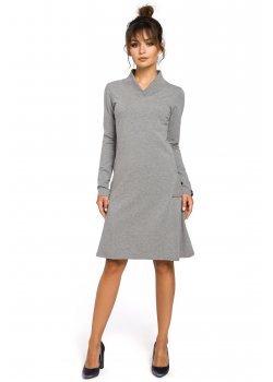 Трапецовидна миди рокля в сив цвят B044