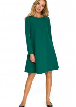 Трапецовидна рокля в зелен цвят S137