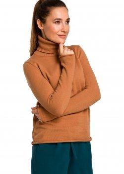 Изчистен пуловер в кафяв цвят S183