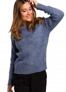 Изчистен пуловер в син цвят S 185