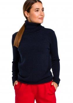 Изчистен пуловер в тъмносин цвят S183