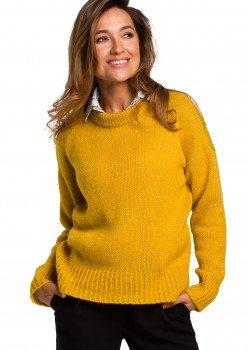 Изчистен пуловер в жълт цвят S 185
