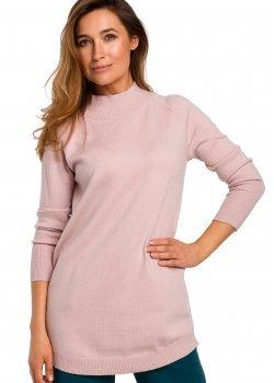 Изичистен пуловер в розов цвят S184