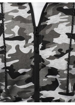 Cуичър с цип в сив камуфлажен десен