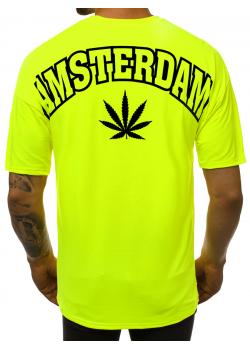 Изчистена тениска с надпис в неоново жълт цвят