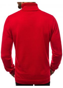 Пуловер в червен цвят с поло яка