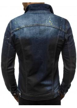 Мъжко дънково яке с промазан дизайн