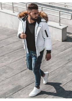 Зимно яке в бял цвят с подвижна качулка