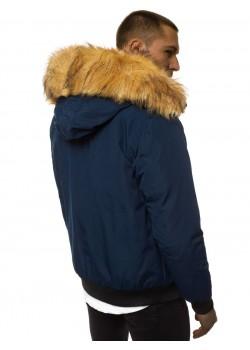 Зимно яке в тъмносин цвят с подвижна качулка