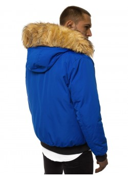 Зимно яке в син цвят с подвижна качулка