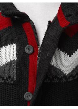 Дълга жилетка с качулка в черен цвят