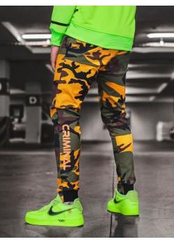 Спортен панталон в жълто-зелен камуфлаж