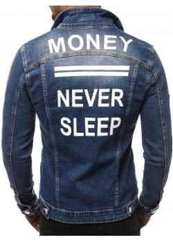 Мъжко дънково яке в тъмносиньо Money - Never Sleep