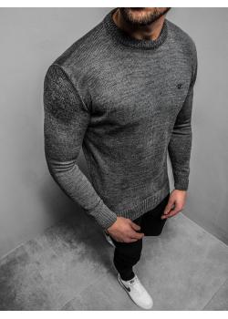 Пуловер в цвят графит с лого