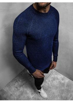 Пуловер в тъмносин цвят с реглан ръкави