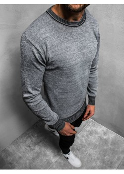 Пуловер в сив цвят с кръгло деколте