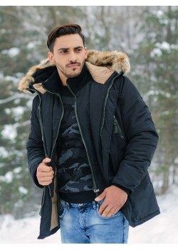 Зимно яке в черен цвят с двойно закопчаване