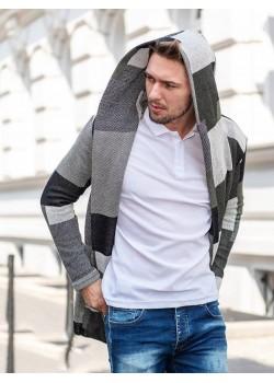 Дълга жилетка с качулка в сив цвят