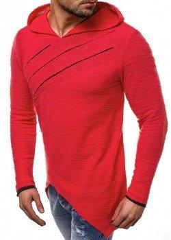 Асиметричен суичър в червен цвят