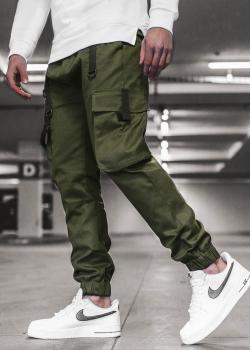 Чино панталон в цвят каки с джобове