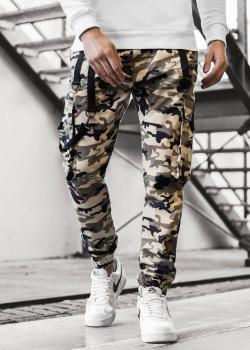 Чино панталон в кафяв камуфлаж с джобове