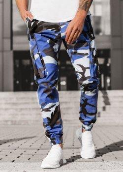 Чино панталон в син камуфлаж
