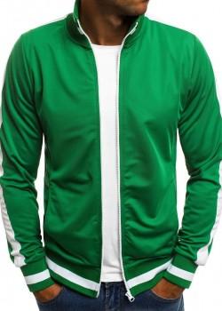 Горнище с цип в зелен цвят
