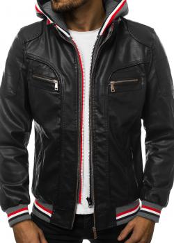 Мъжко кожено яке в черен цвят J.Boyz