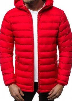 Мъжко пухено пролетно-есенно яке в червен цвят