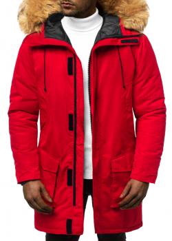Мъжко зимно яке парка с качулка в червено