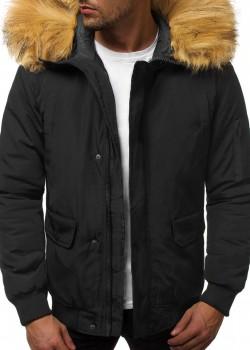 Мъжко зимно яке с качулка в черен цвят